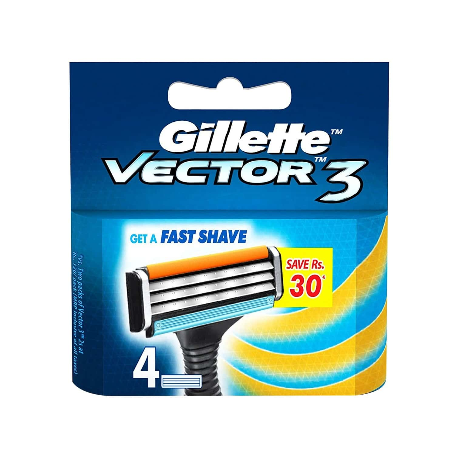 Gillette Vector 3 Manual Shaving Razor Blades ( 4 Catridges)