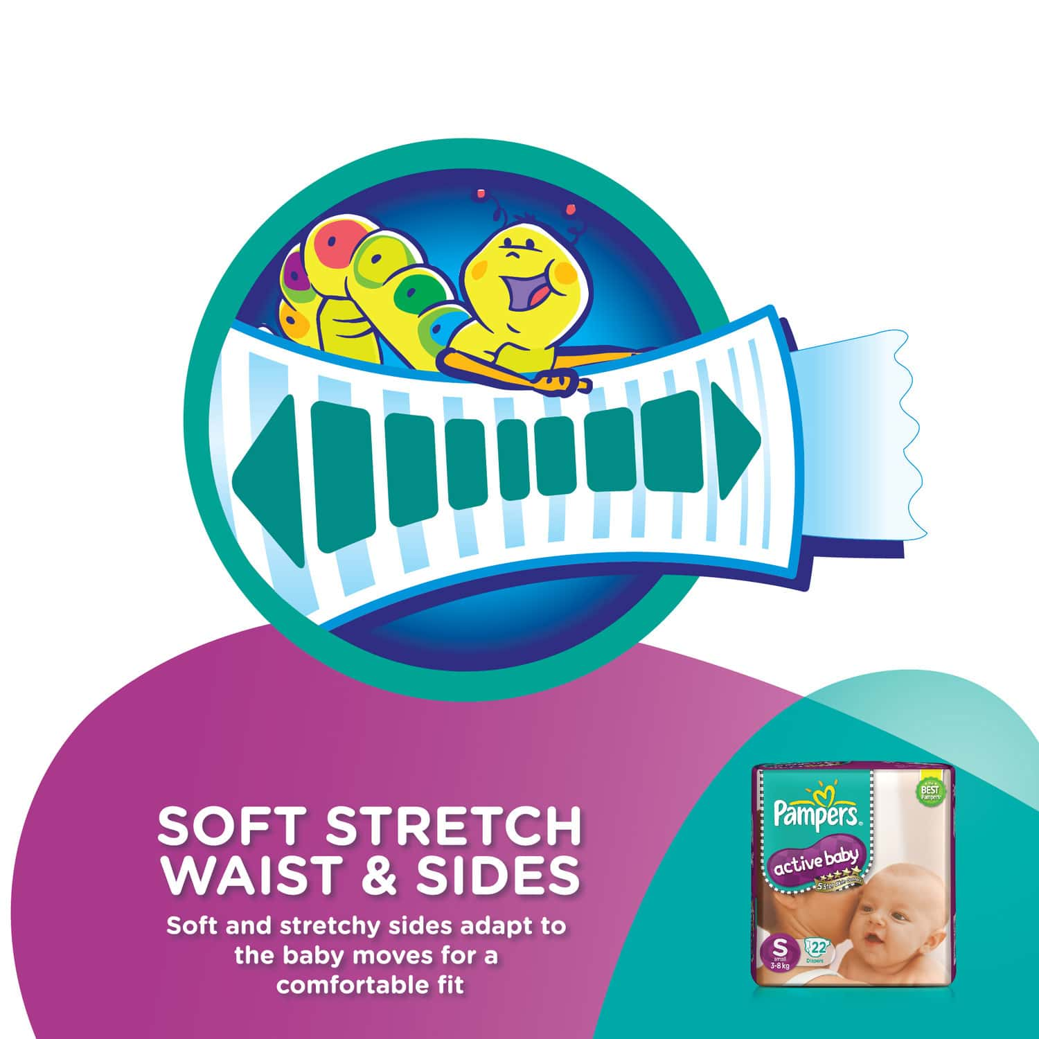 Pampers Active Baby Diaper Size S Packet Of 22
