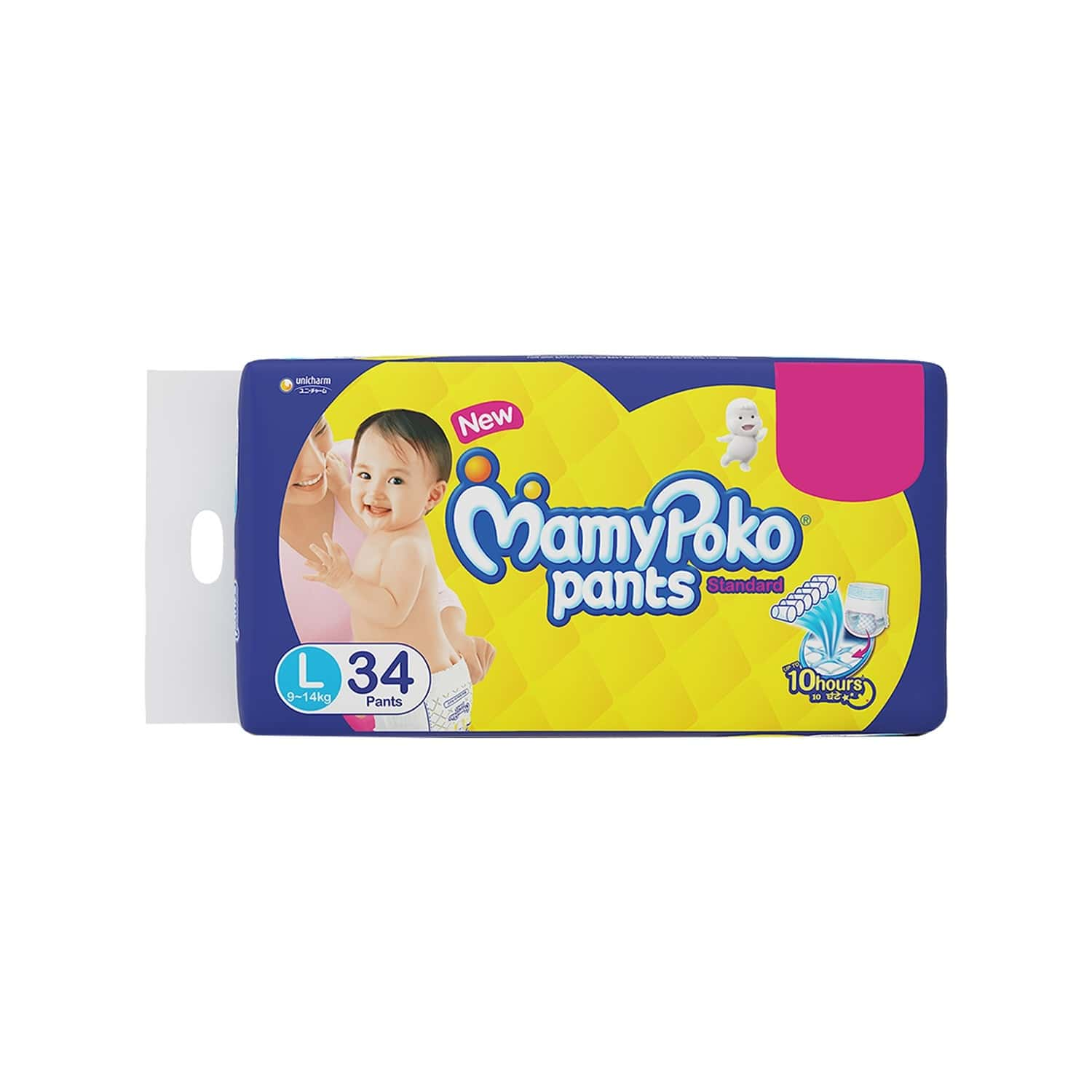 Mamy Poko Pants Standard Pant Style Large Size Diapers - 34 Count