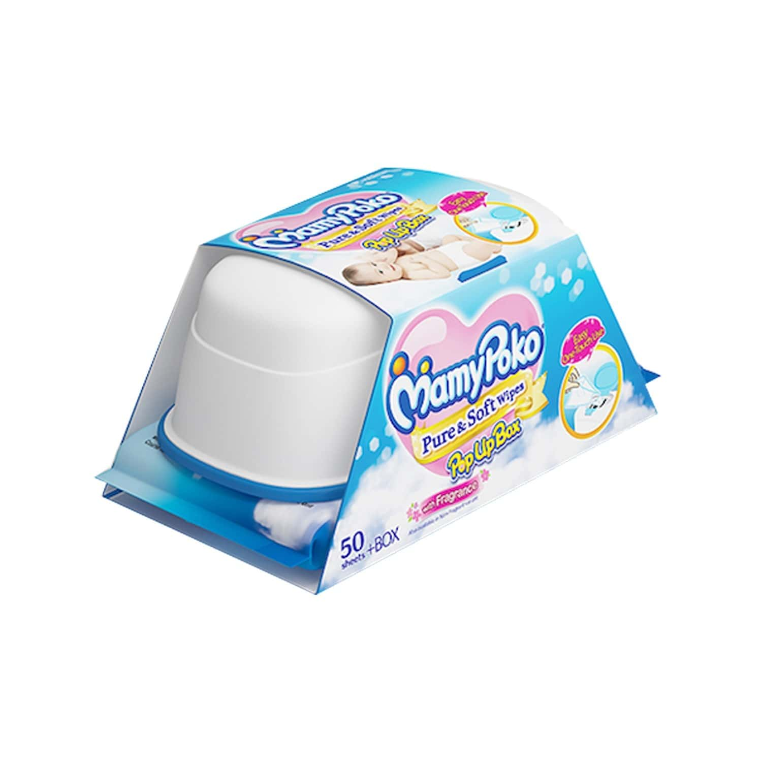 Mamypoko Wipes Pure & Soft With Purified Water And Without Alcohol With Fragrance Pack Of 50 With Pop Up Box