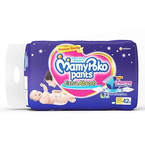 Mamypoko Pants Extra Absorb Diaper Small Size Pack Of 42