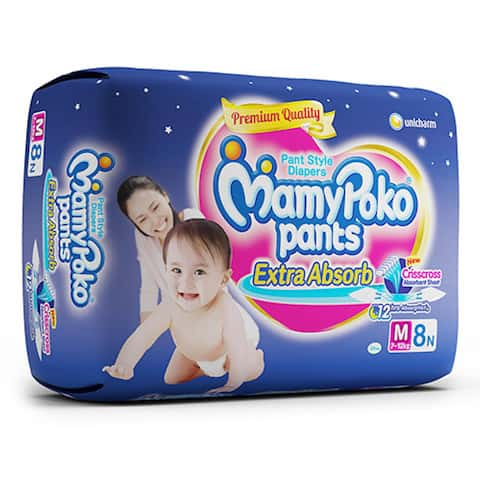 Mamypoko Pants Extra Absorb Diaper Medium Size Pack Of 8