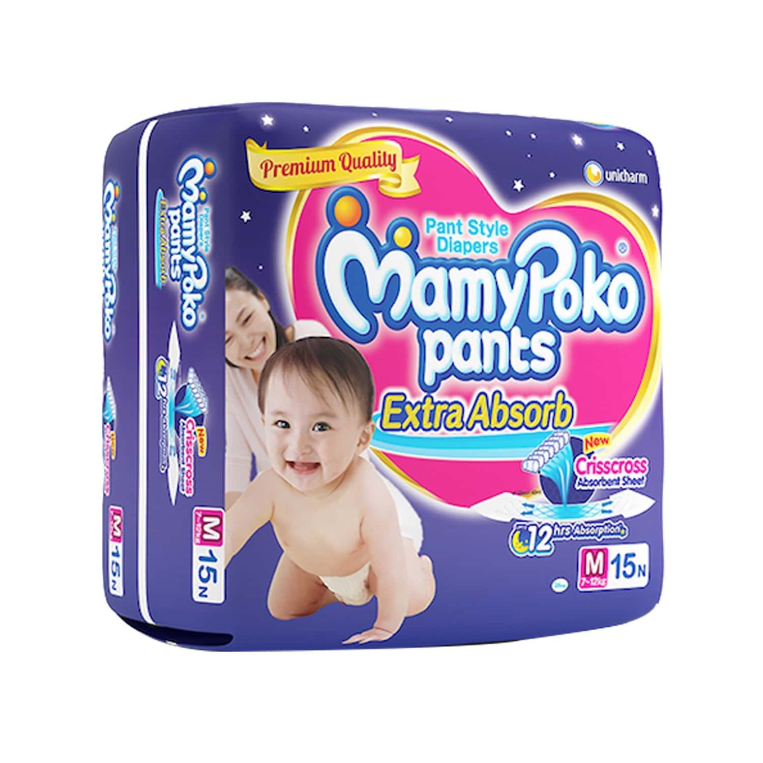 Mamypoko Pants Extra Absorb Diaper Medium Size Pack Of 15