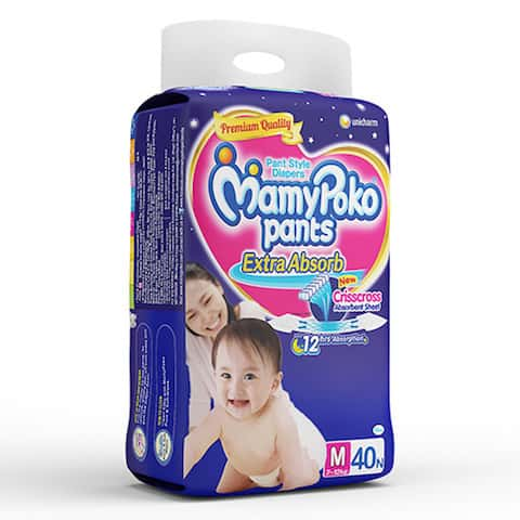 Mamypoko Pants Extra Absorb Diaper Medium Size Pack Of 40