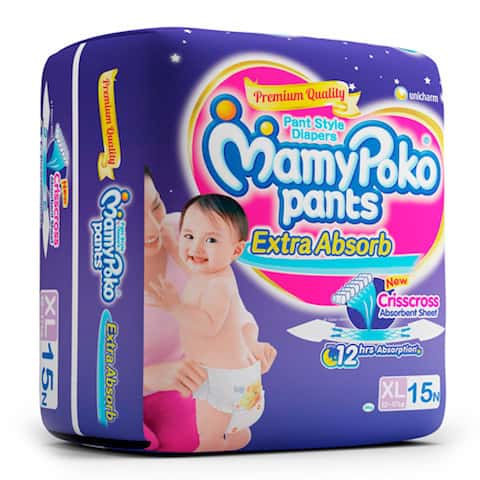 Mamypoko Pants Extra Absorb Diaper Extra Large Size Pack Of 15