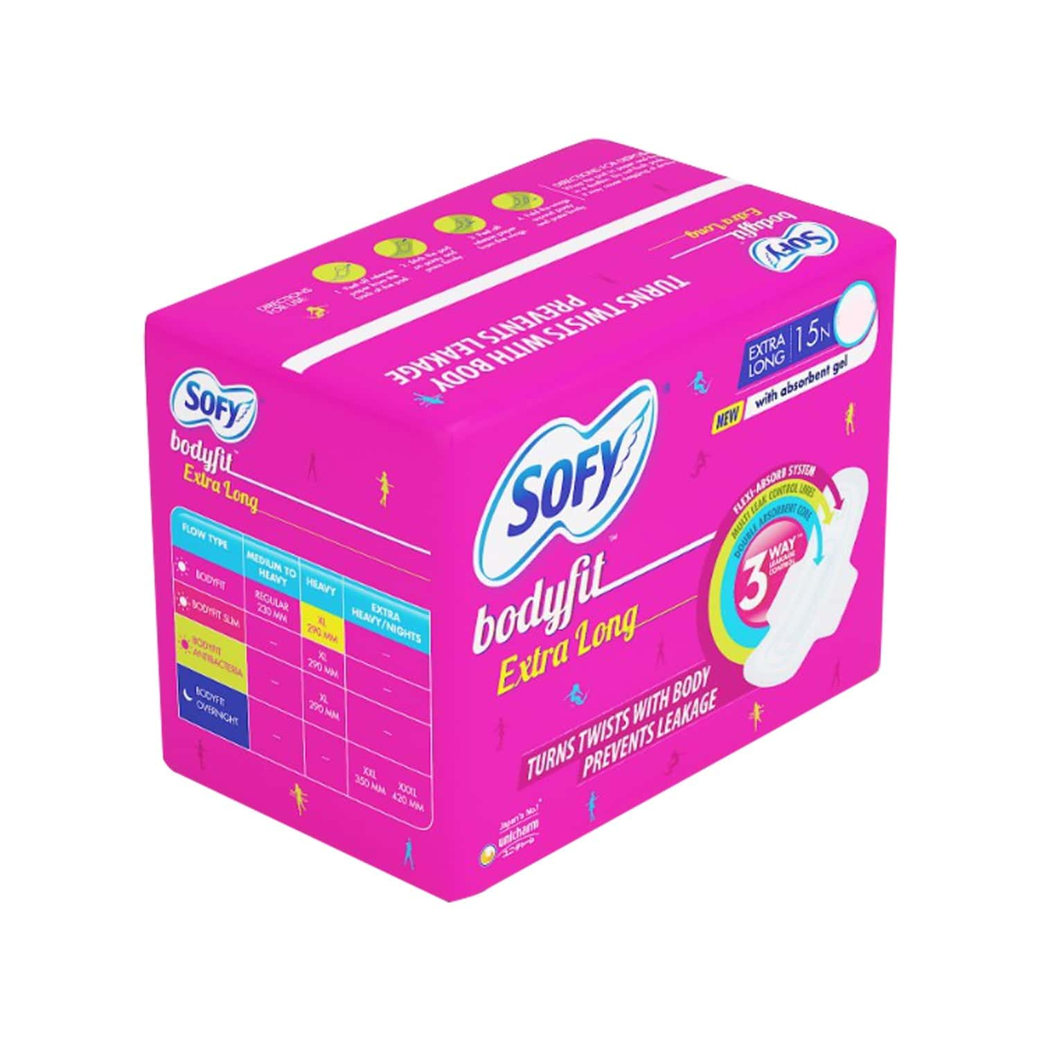 Sofy Bodyfit Sanitary Pads Extra Large Pack Of 15