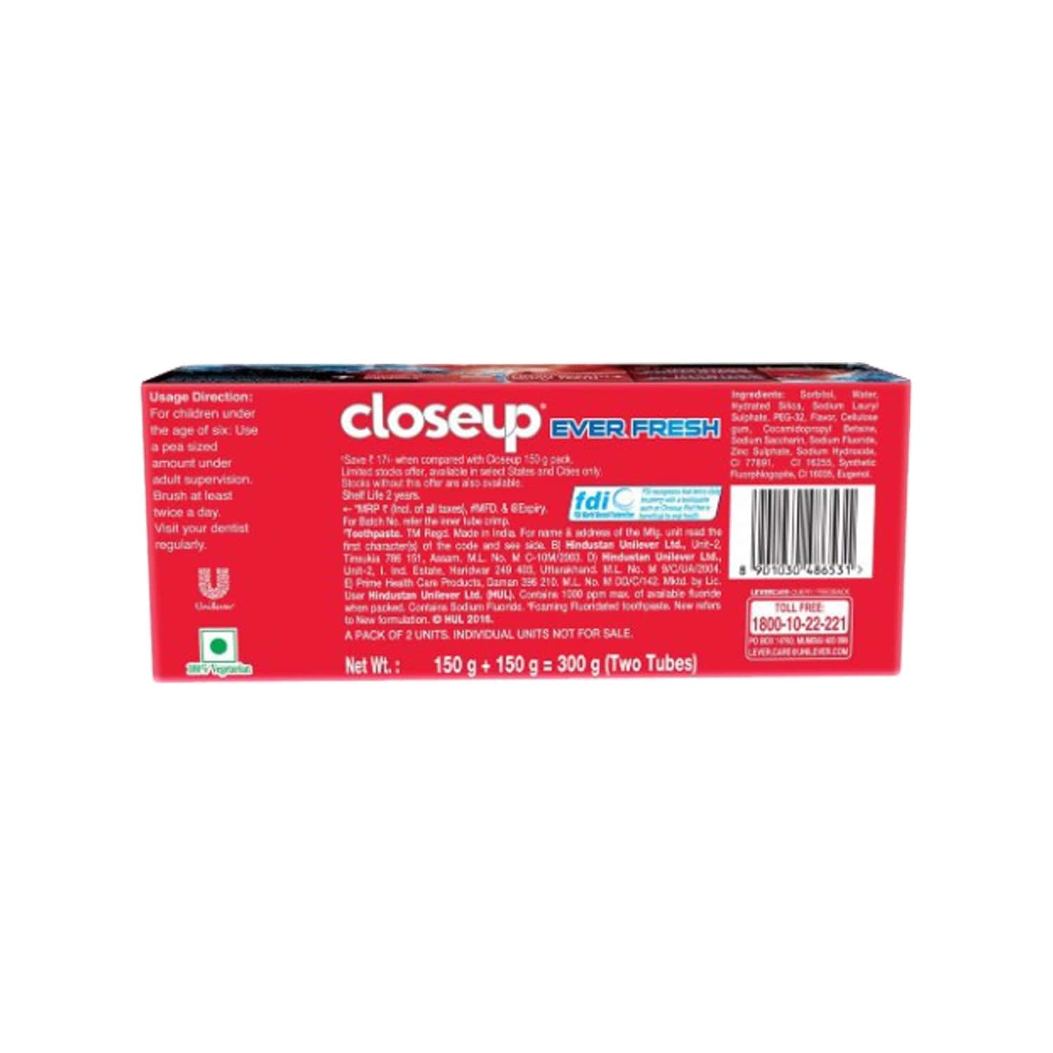 Closeup Red Hot Gel Toothpaste, Ever Fresh 2x150 Gm