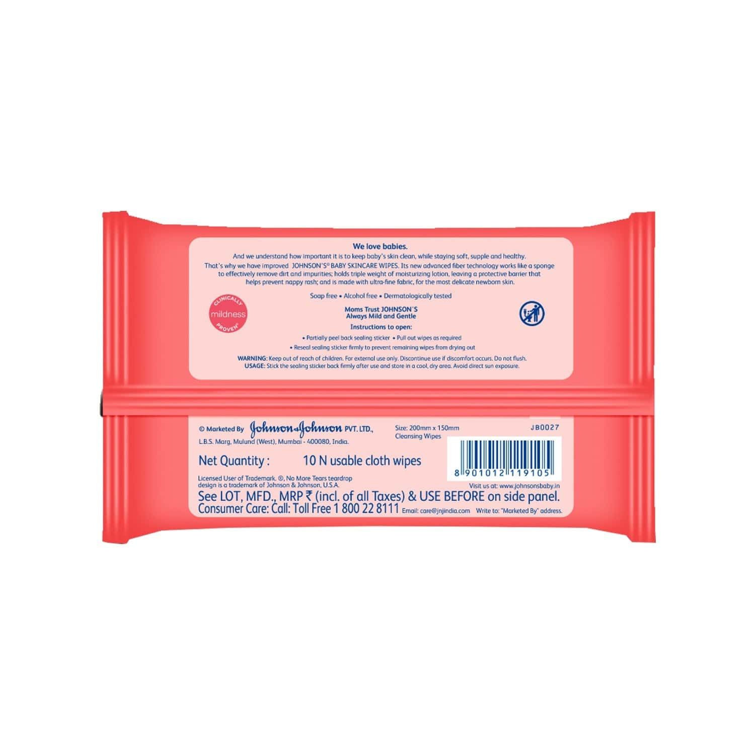 Johnson's Baby Skincare Wipes 10 Pieces