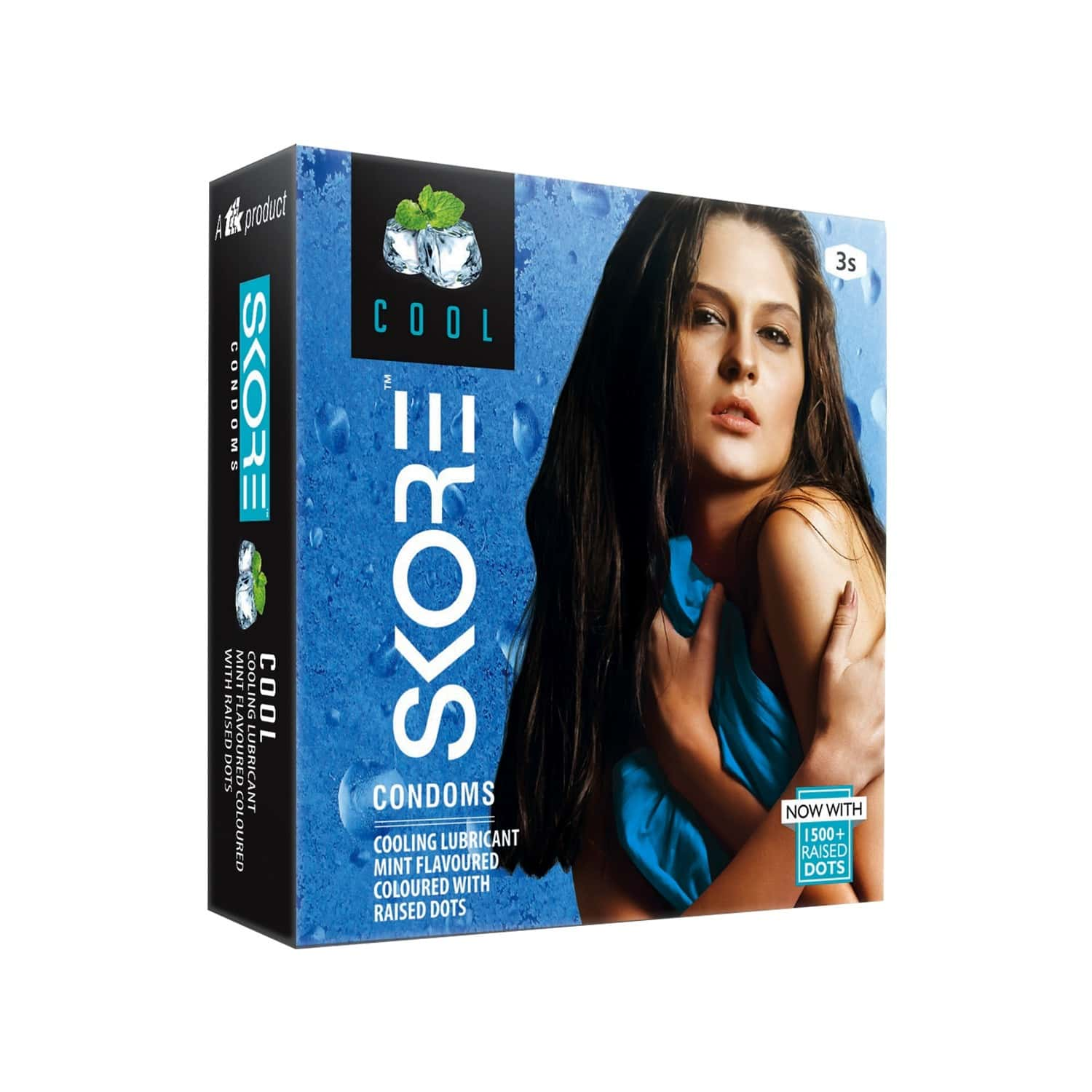 Skore Cool Mint Dotted Box Of 10 Condoms
