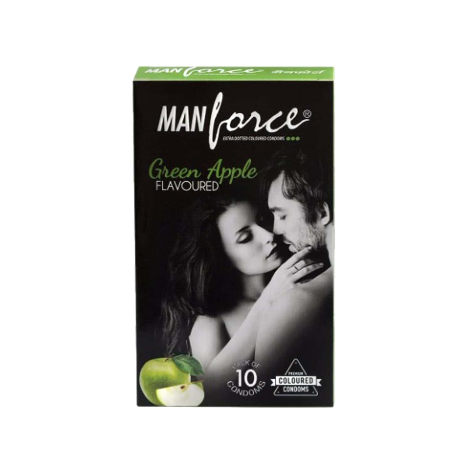 Manforce Green Apple Flavoured Condoms Pack Of 10