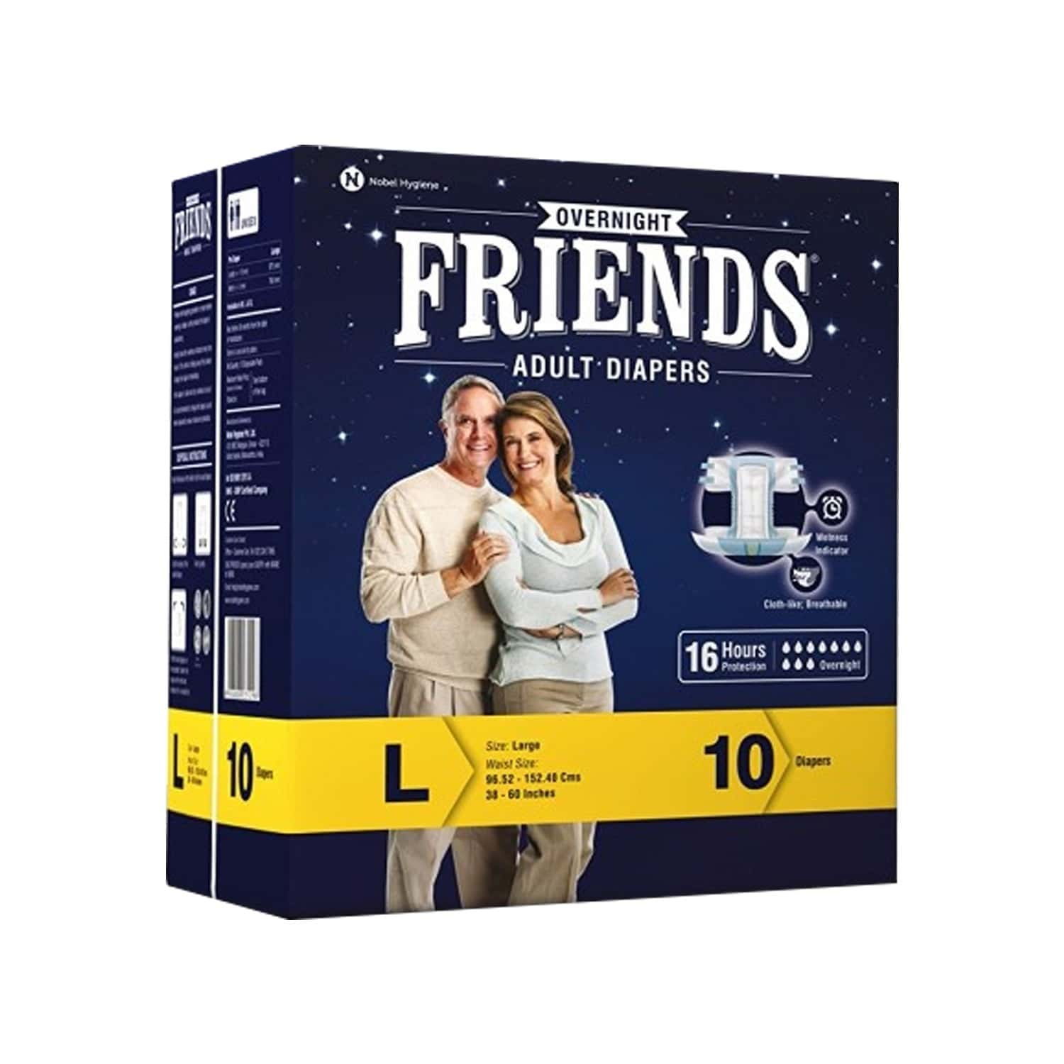 Friends Overnight Adult Diapers Large (taped Diaper) - 10's
