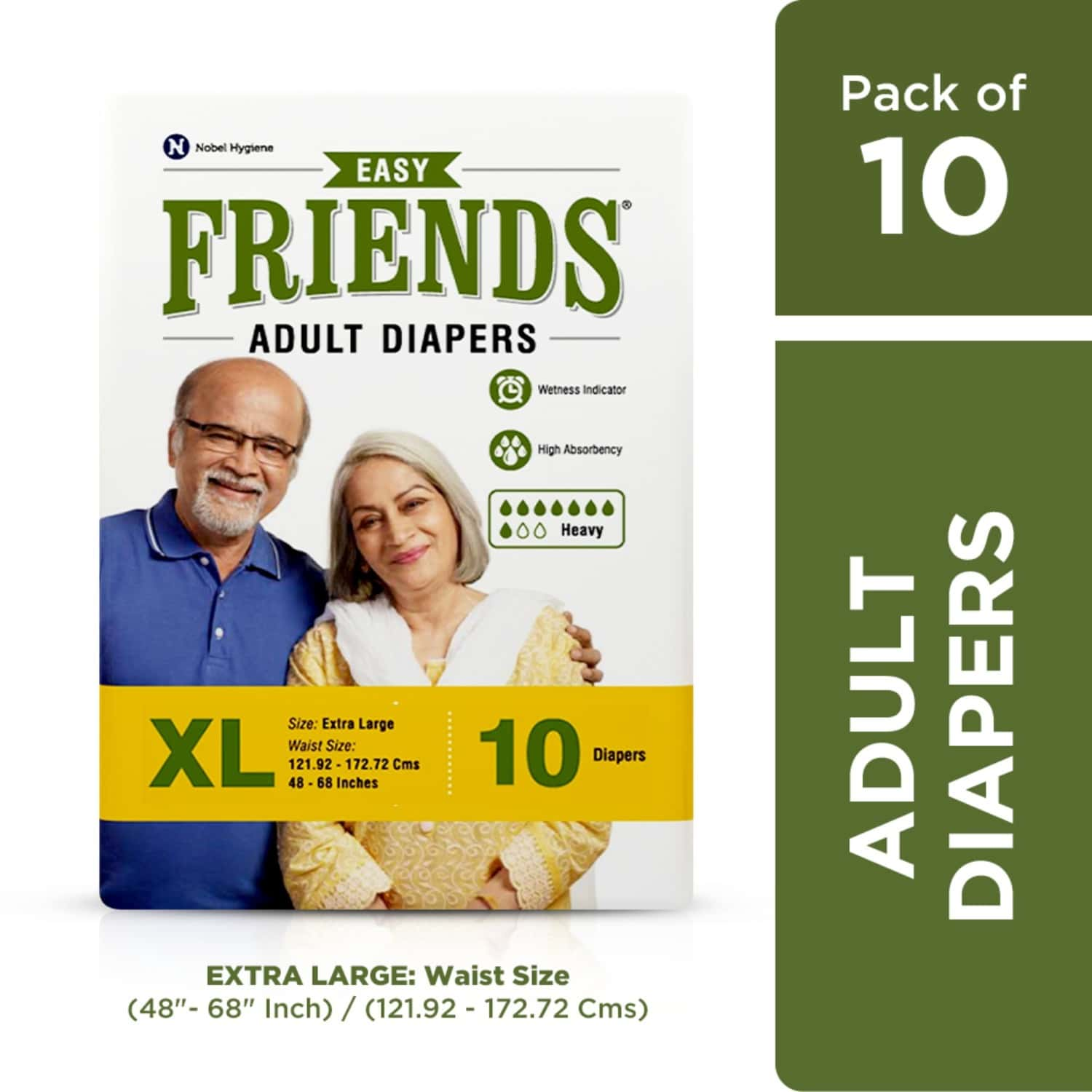 Friends Easy Adult Diapers Xl Size, Waist 48-68 Inch, High Absorbency Anti-bacterial Core, 10's Pack