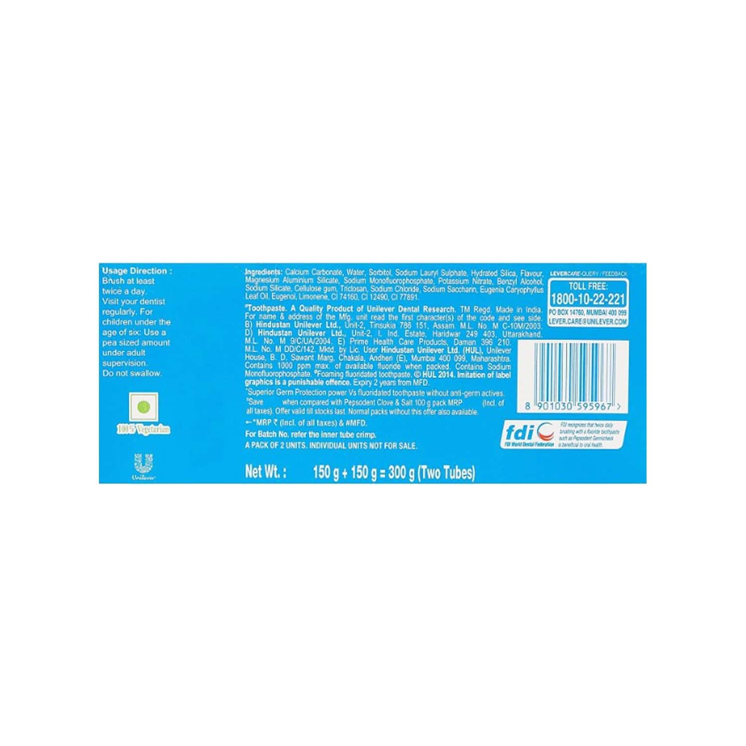 Pepsodent Toothpaste, Clove And Salt 2x150 Gm