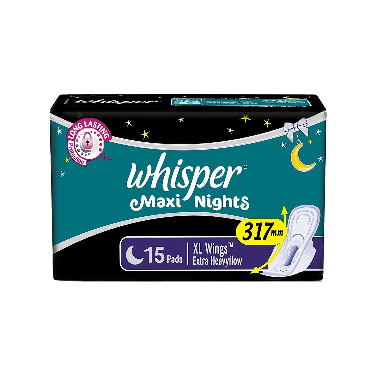 Whisper Maxi Night Xl Wing Pads 15 Pieces