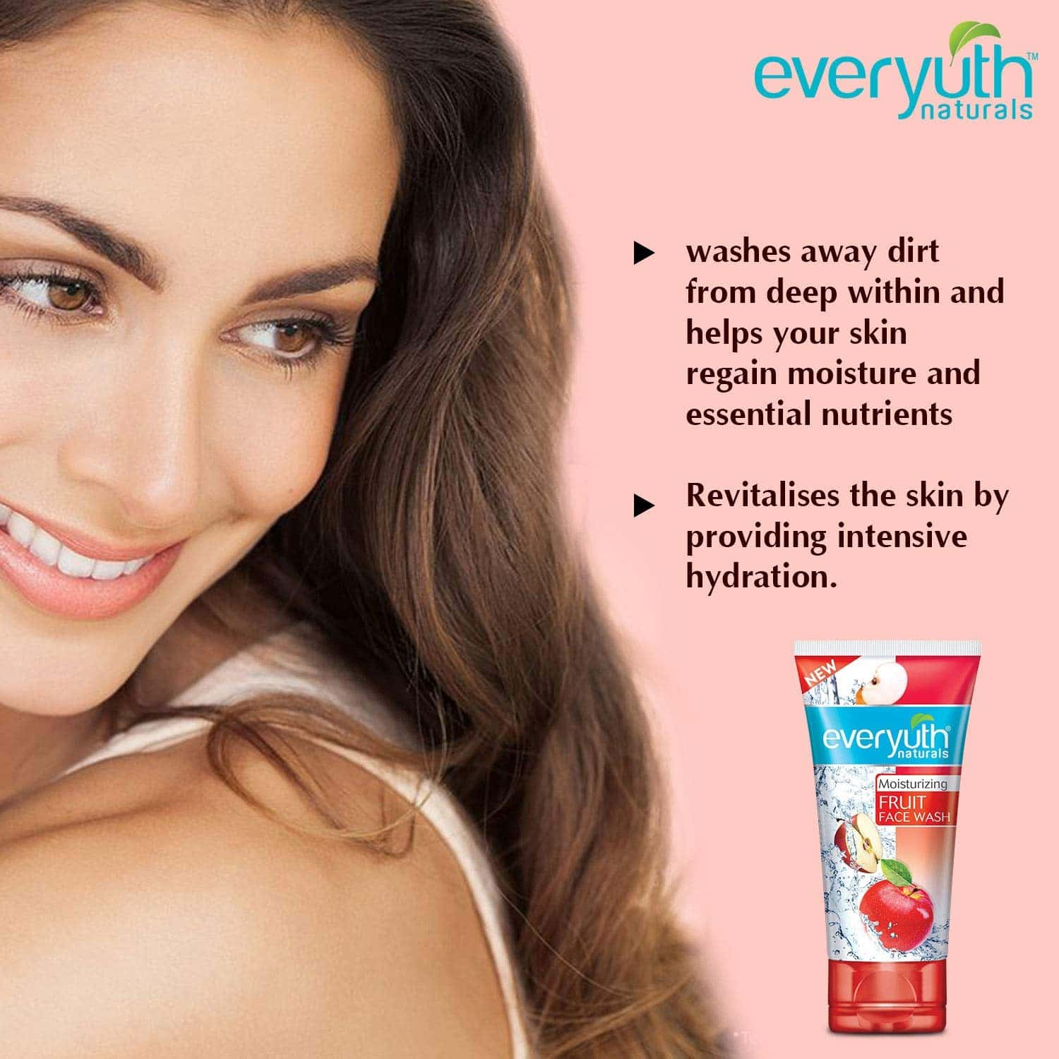 Everyuth Naturals Moisturizing Fruit Face Wash With Apple Extracts Tube Of 150 G