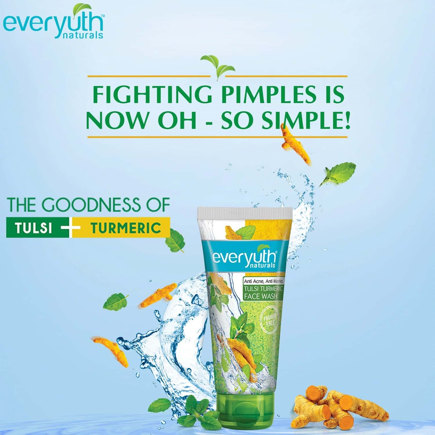 Everyuth Naturals Anti Acne Tulsi Turmeric Face Wash  Tube Of 100 G