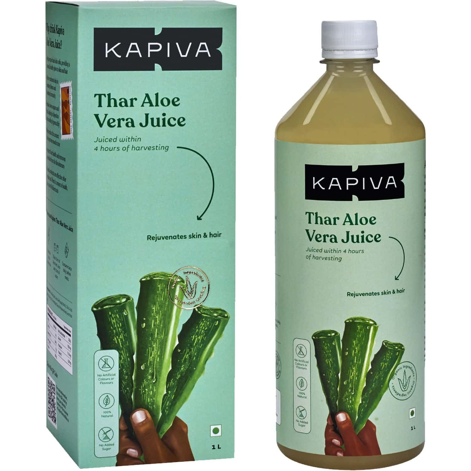 Kapiva Thar Aloe Vera Juice (with Pulp) | Rejuvenates Skin And Hair | Natural Juice Made Within 4 Hours Of Harvesting | No Added Sugar - 1l