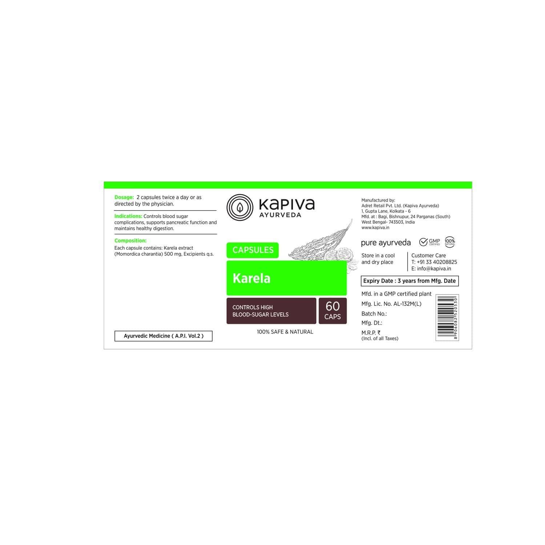 Kapiva Karela Capsules - 500 Mg - 60 Capsules - Healthy Digestion - 100% Natural