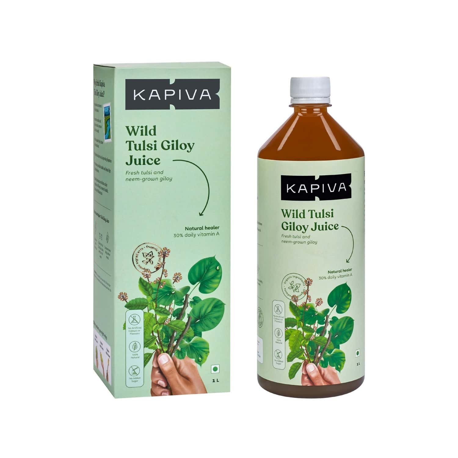 Kapiva Wild Tulsi Giloy Juice 1l   Natural Juice For Building Immunity   First Brand To Use Neem Grown Giloy Stems With Fresh Tulsi Leaves   No Added Sugar
