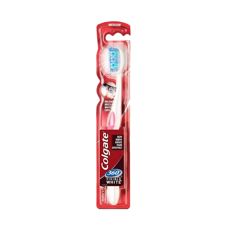 Colgate Toothbrush - 360 Visible Whitening Cups - 1 Pc- Medium Polishing Bristles