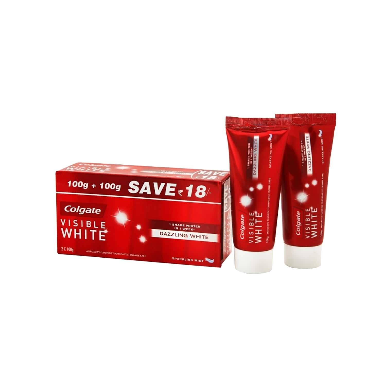 Colgate Visible White Sparking Mint Whitening Toothpaste Tube Of 200 G Saver Pack