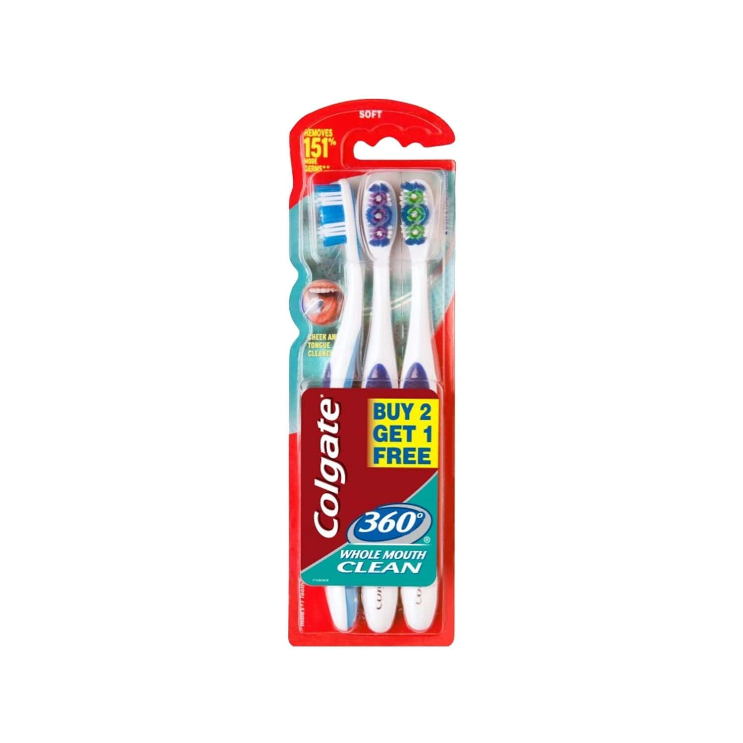 Colgate Toothbrush - 360 Whole Mouth Clean - Saver Pack, Buy 2 Get 1 Free