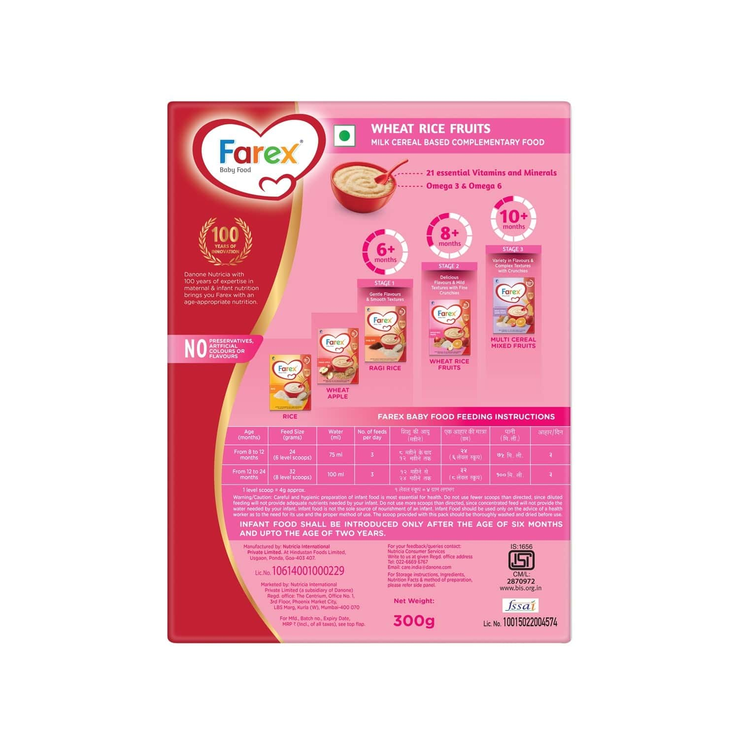 Farex Wheat Rice Baby Food (8 Months+) Refill Of 300 G