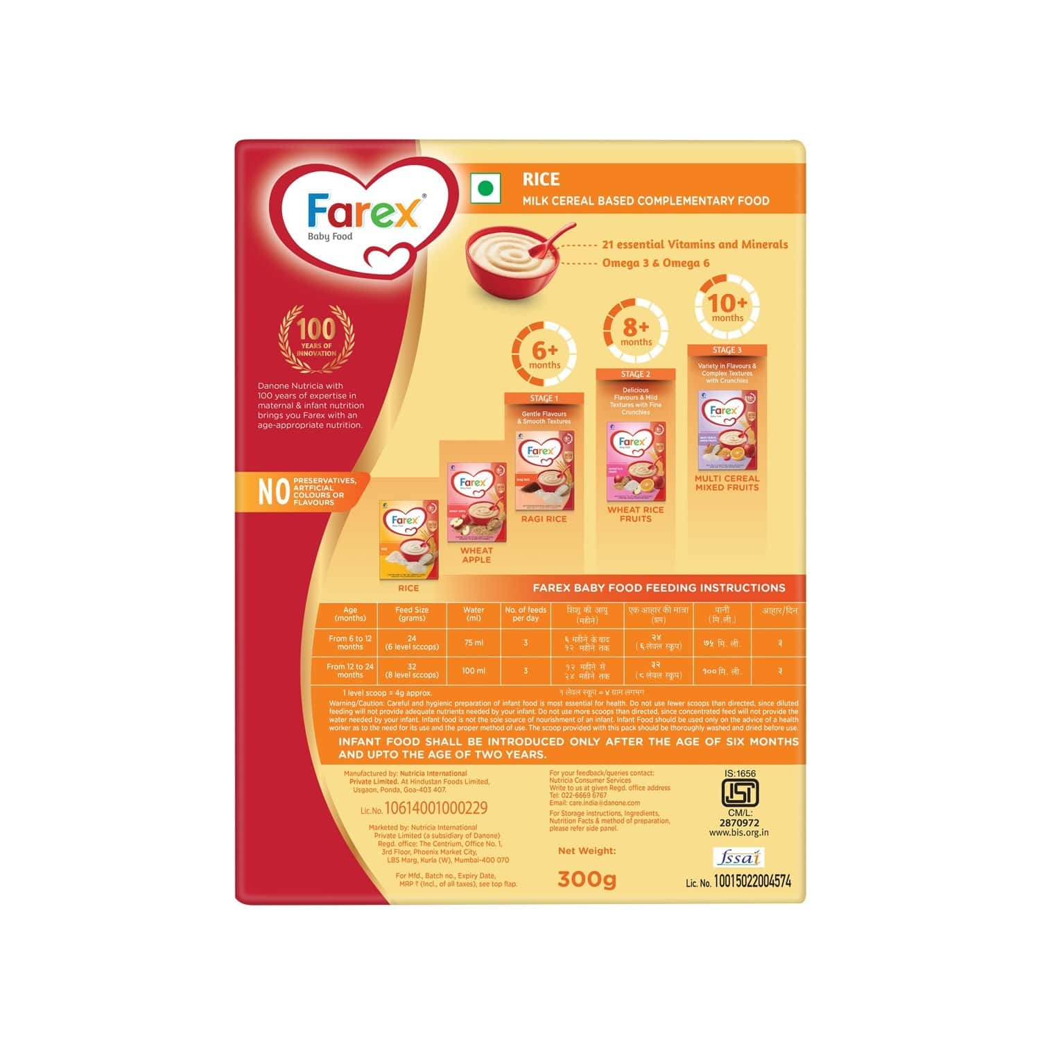 Farex Rice Baby Food (6 Months+) Refill Of 300 G