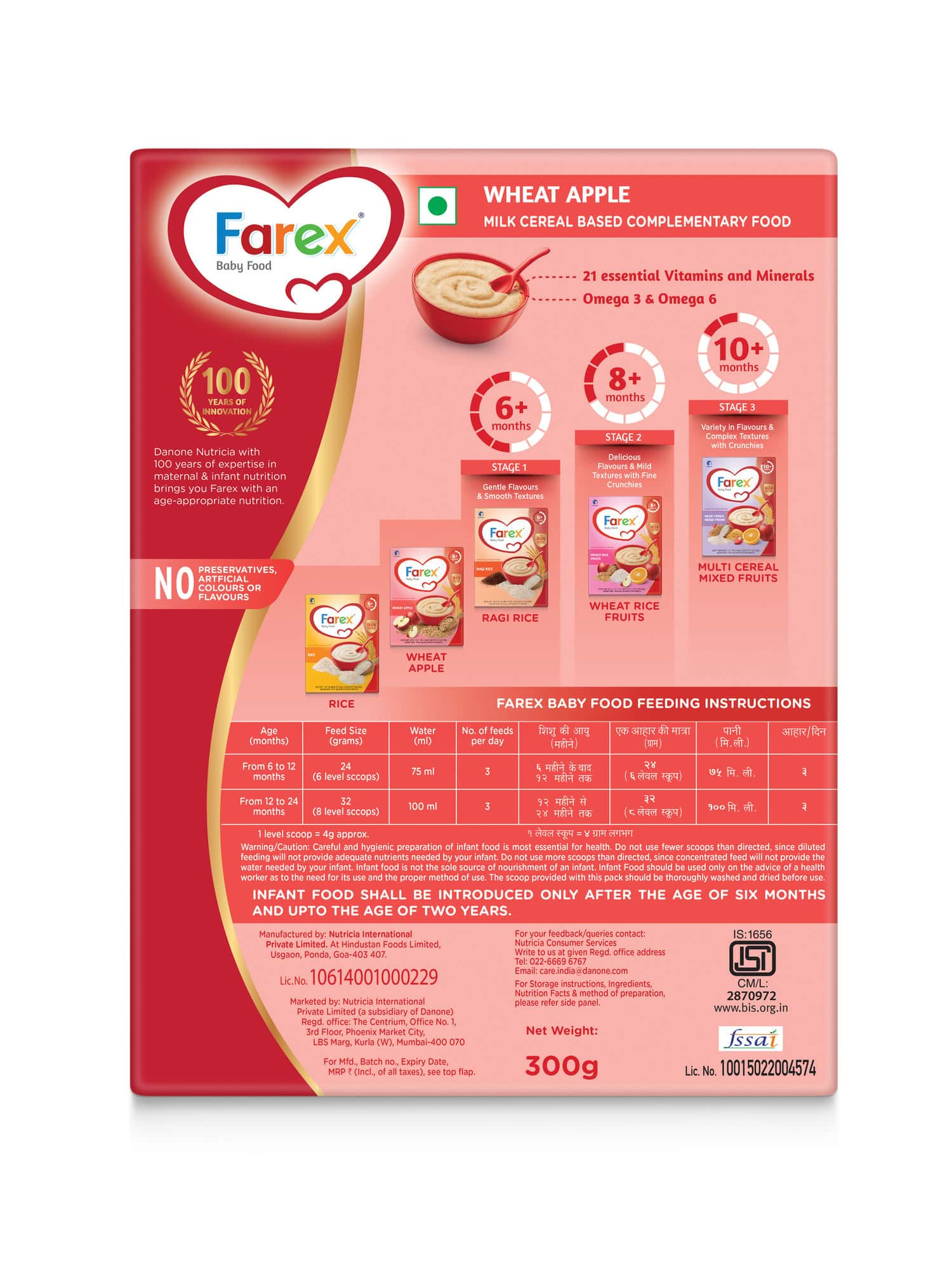 Farex Wheat Apple Baby Food (6 Months+) Refill Of 300 G
