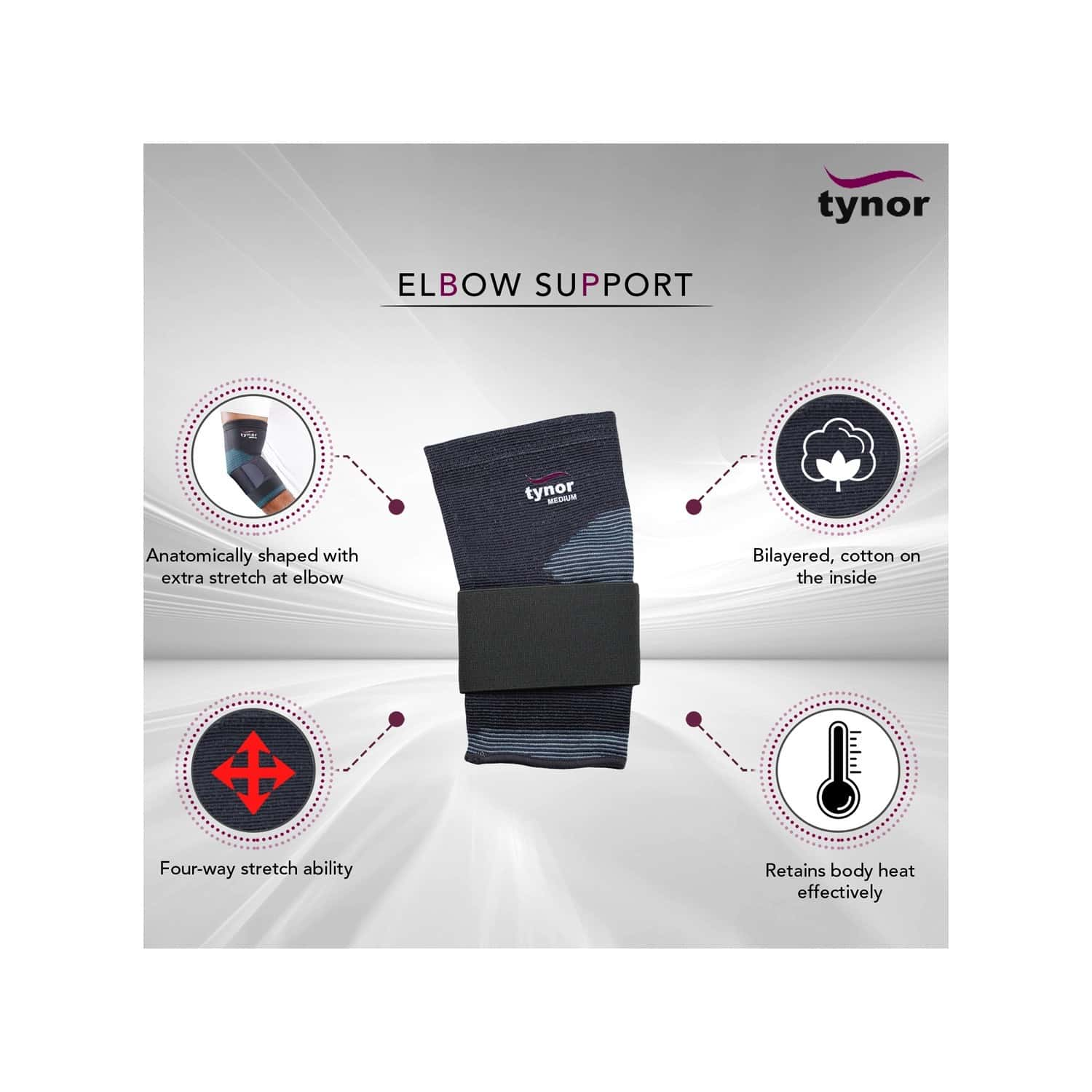 Tynor Elbow Support ( Compression,pain Relief) - Xl