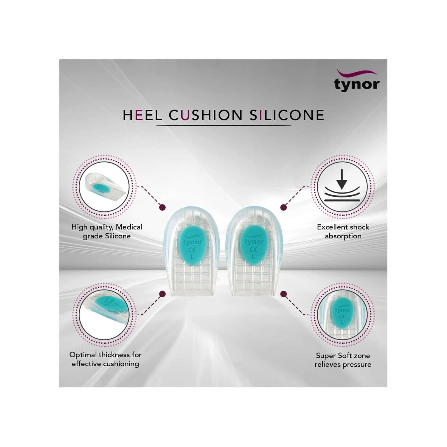 Tynor Heel Cushion Silicone ( Comfortable,odorless,pain Relief) - Medium