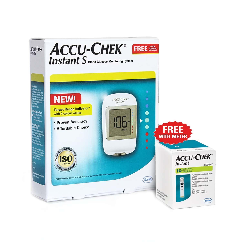 Accu-chek Instant S Glucometer Kit (with Free 10 Strips)