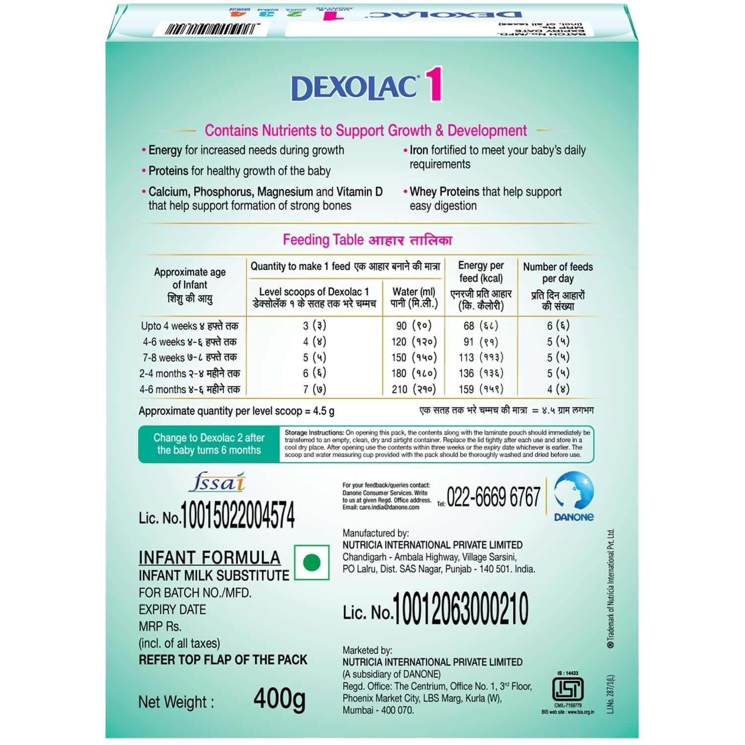 Dexolac Baby Food Stage 1 Infant Formula (upto 6 Months) Box Of 400 G