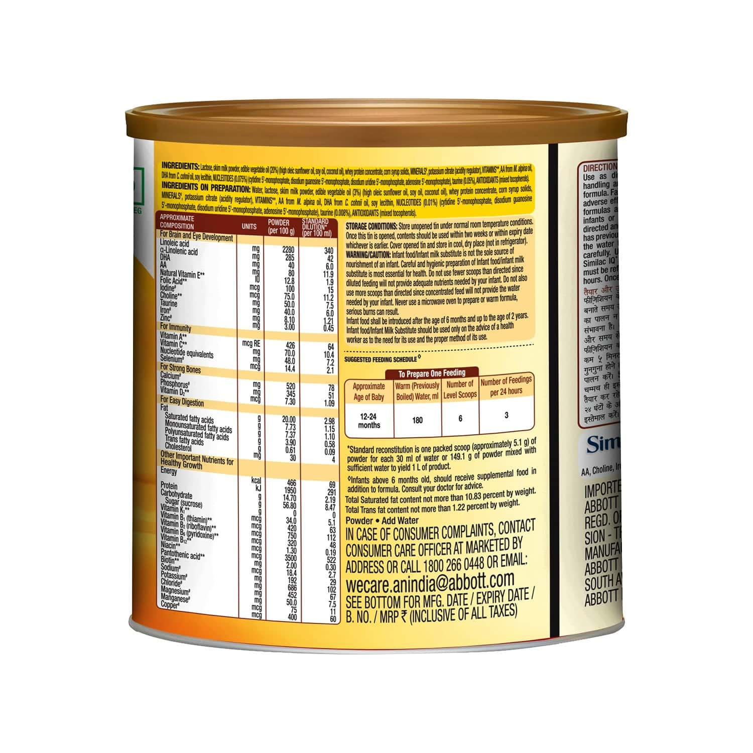 Similac Iq+ Baby Food Stage 3 Follow-up Formula With Dha + Natural Vitamin E (from 12 - 24 Months) Tin Of 400 G