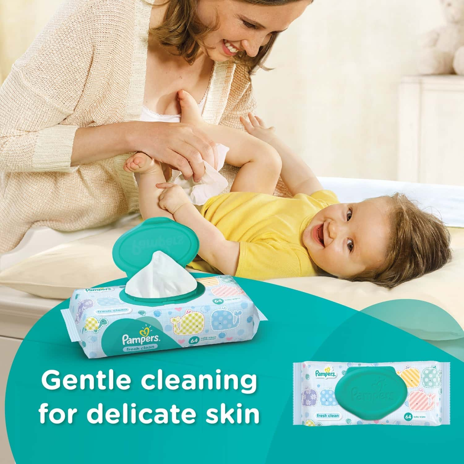 Pampers Fresh Clean Baby Wipes (64 Count)