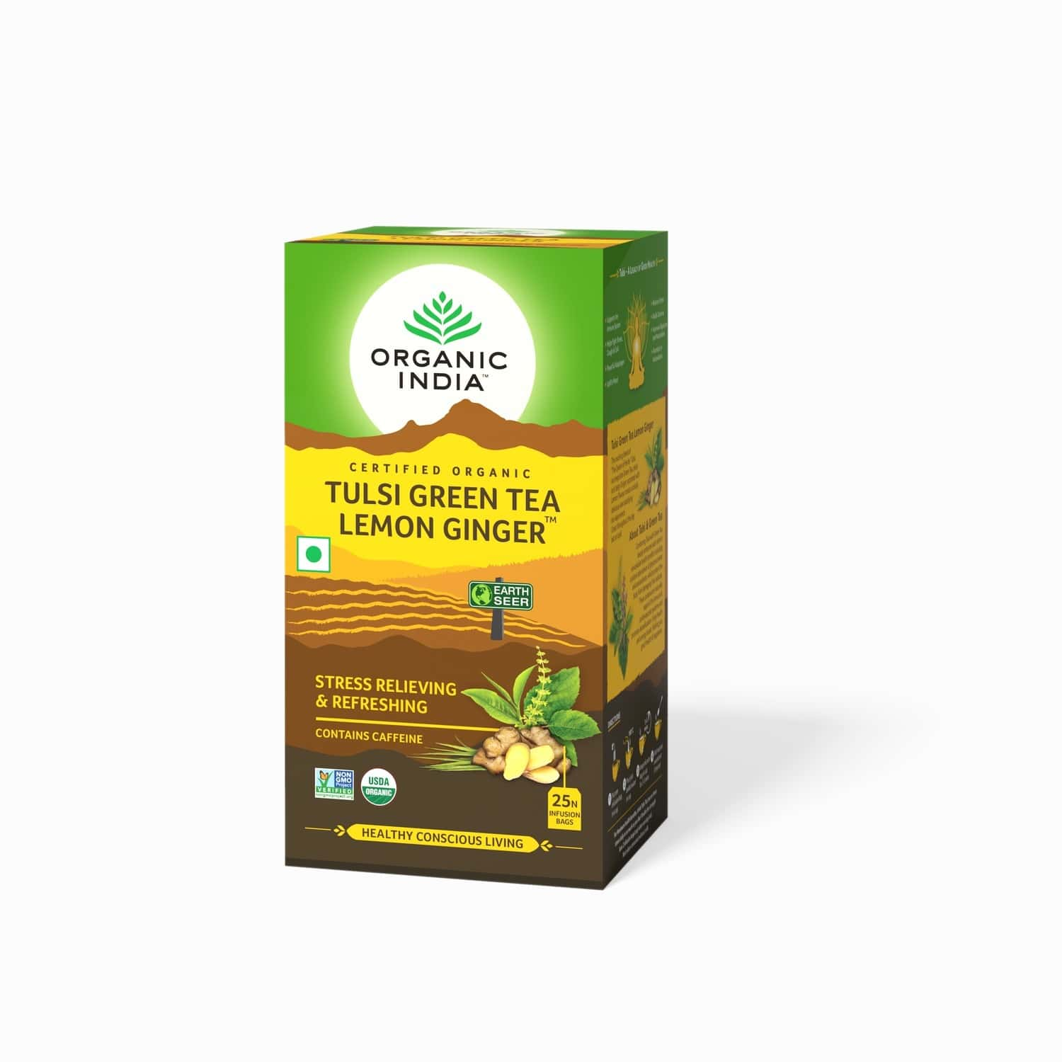 Organic India Tulsi Green Tea Lemon Ginger Tea Bag 25's