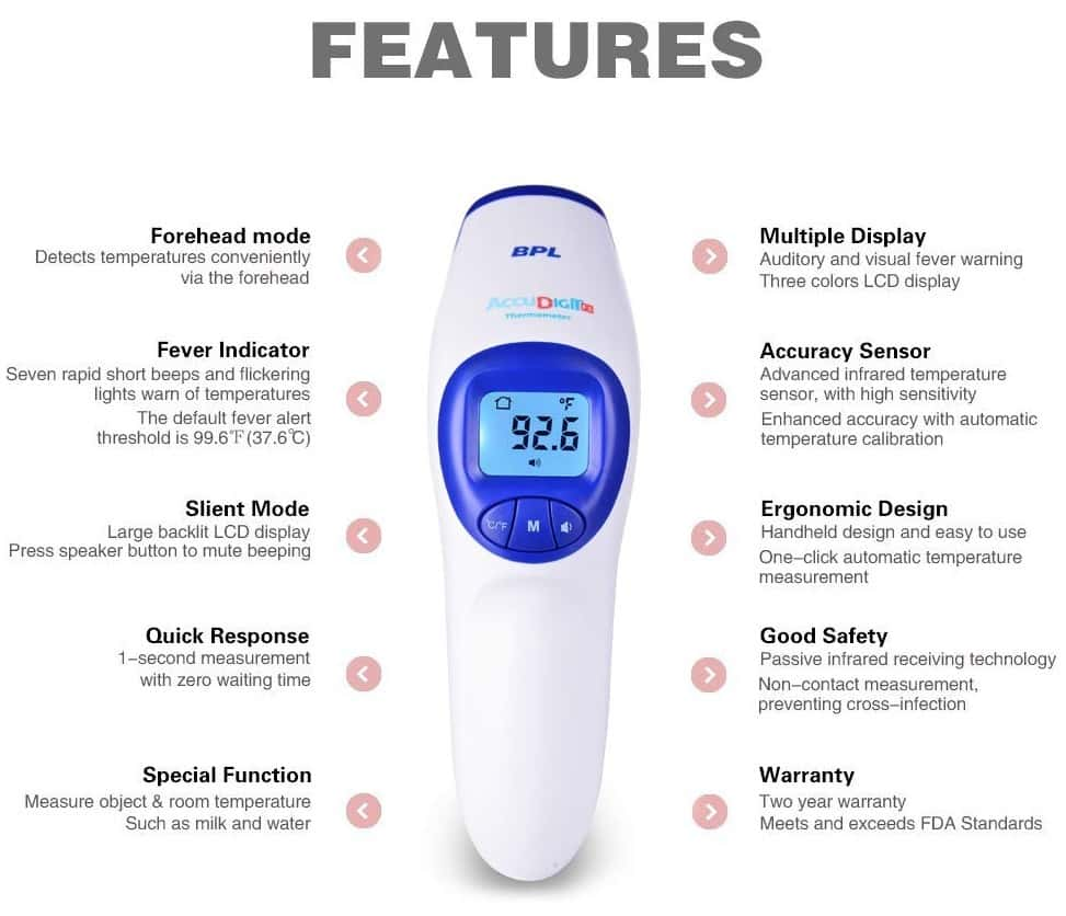 Bpl Accu Digit F1 Non Contact Infrared Thermometer - White - 1pc