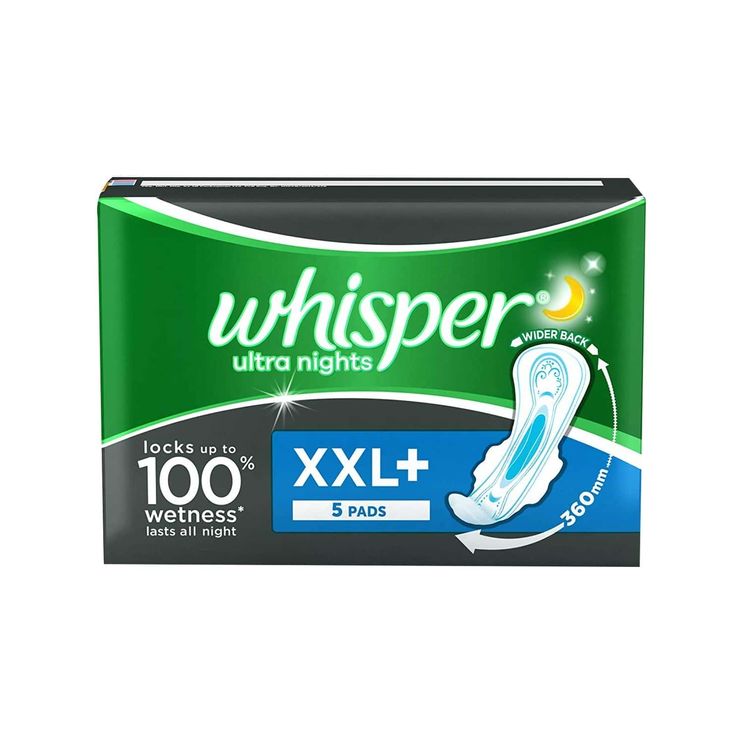 Whisper Ultra Overnight Size Xxl Plus Sanitary Pads Packet Of 5