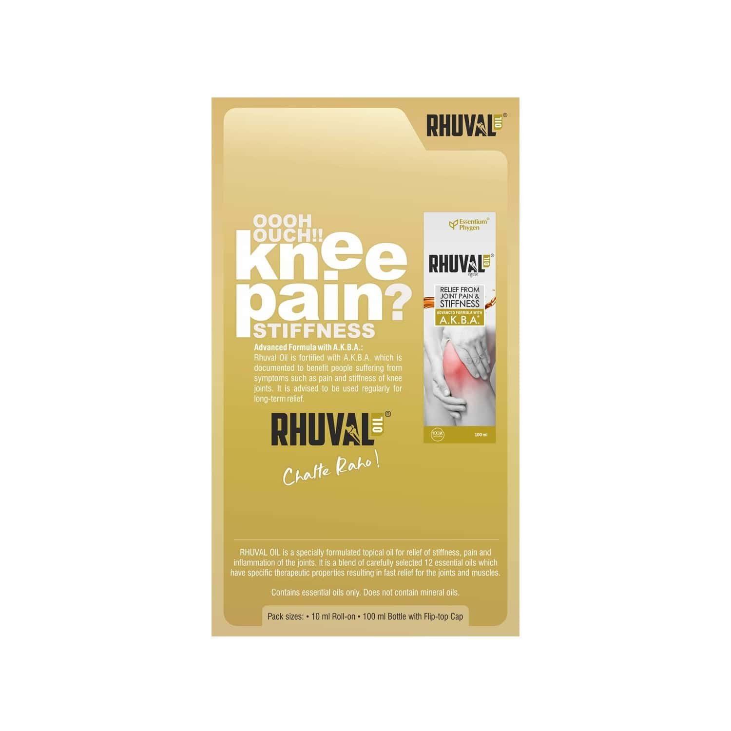 Rhuval Oil With A.k.b.a Joint Pain Relief Oil Roll On Of 10 Ml