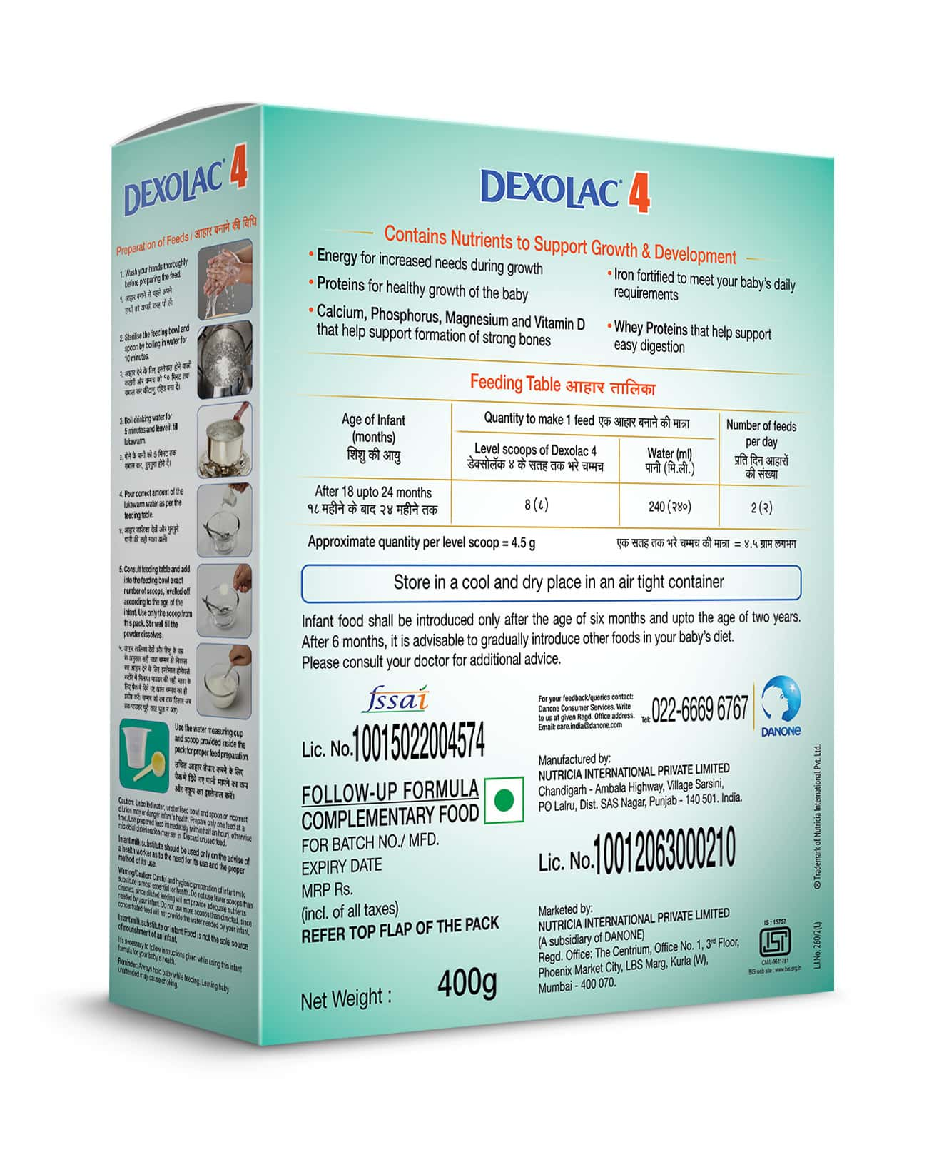 Dexolac Stage 4 Follow-up Formula Baby Food (after 18 - 24 Months) Refill Of 400 G