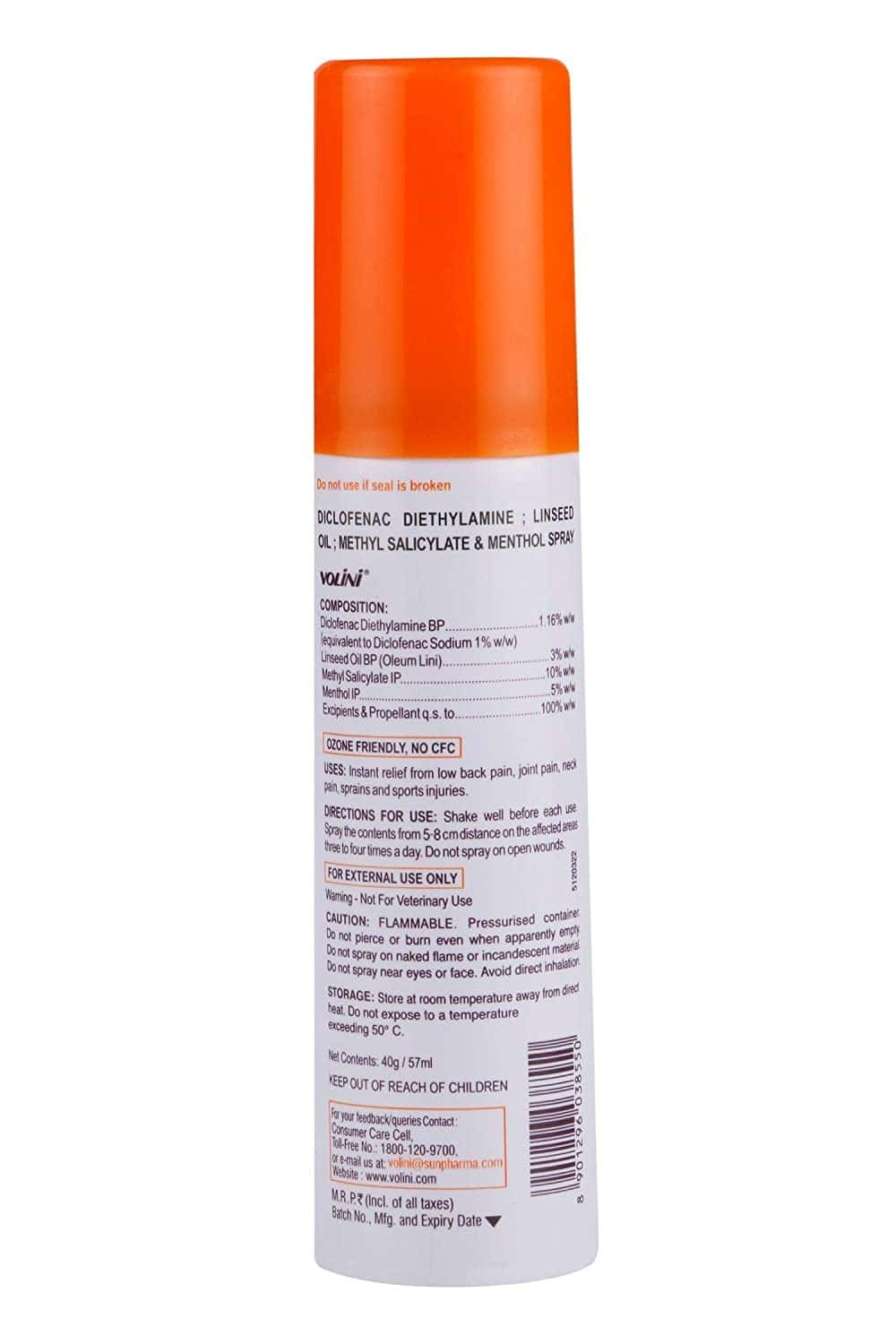 New Volini All Round 360 Action Spray Bottle Of 40 G