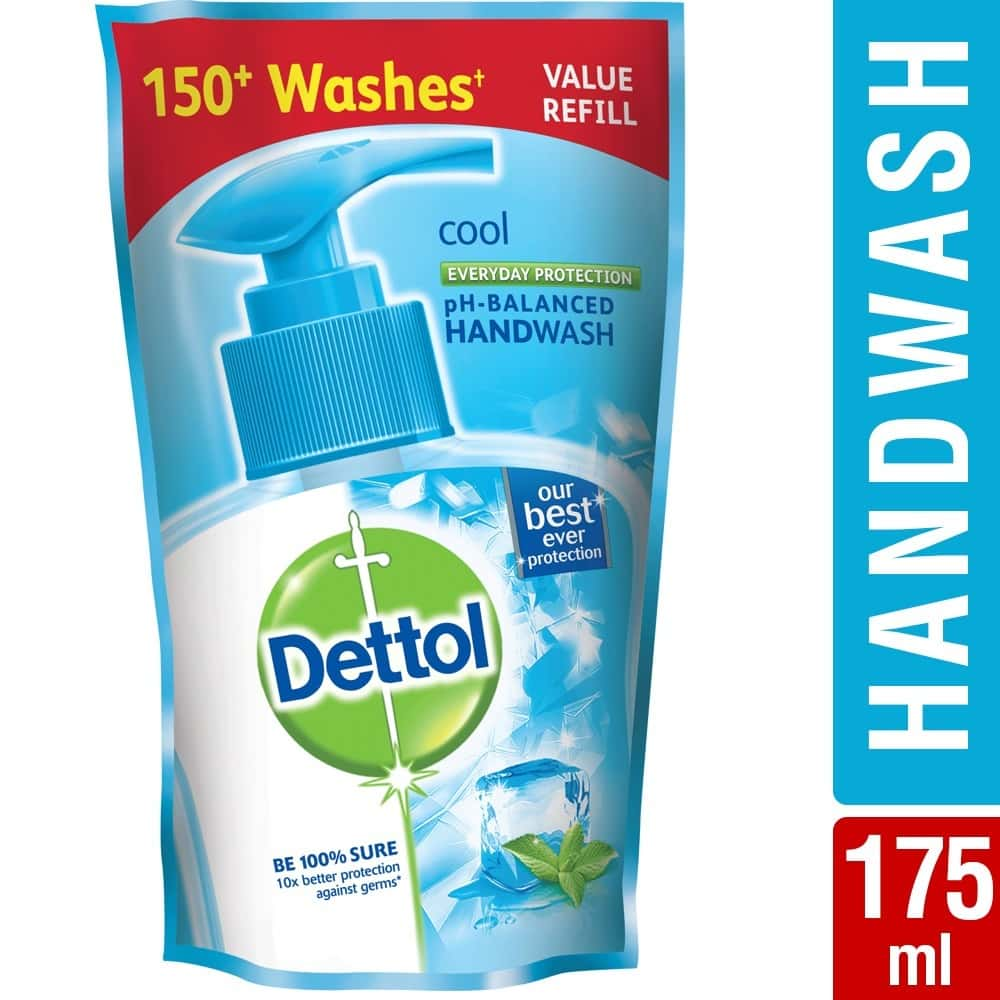 Dettol Ph-balanced Liquid Handwash Refill Pouch, Cool - 175 Ml
