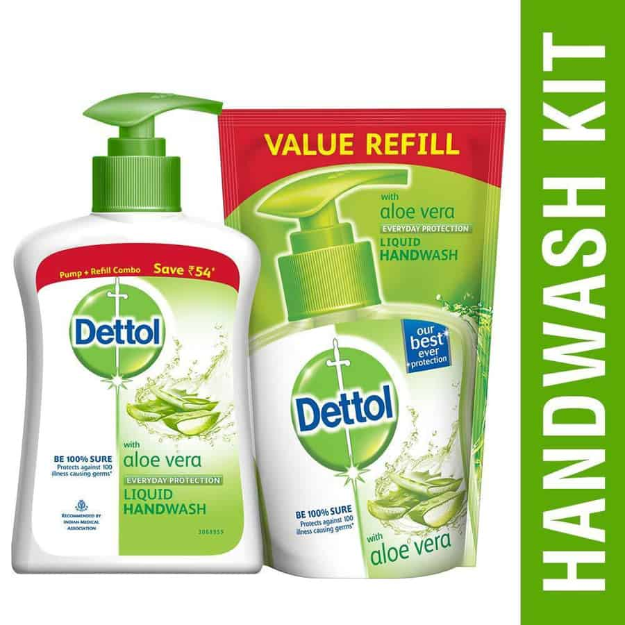 Dettol Liquid Handwash, Aloe - 200ml + 175ml