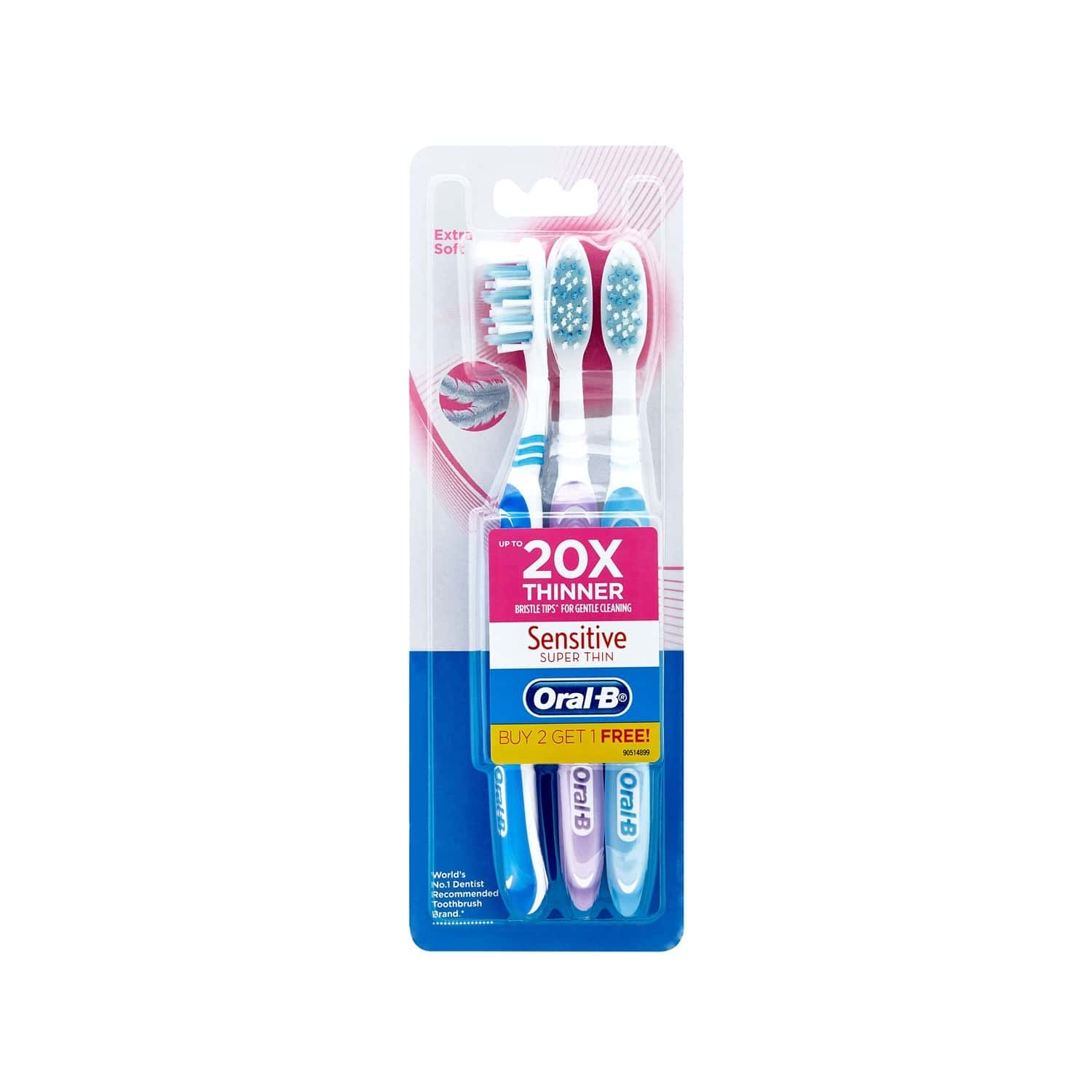 Oral-b Sensitive Super Thin Toothbrush Soft Buy 2 Get 1 Pack