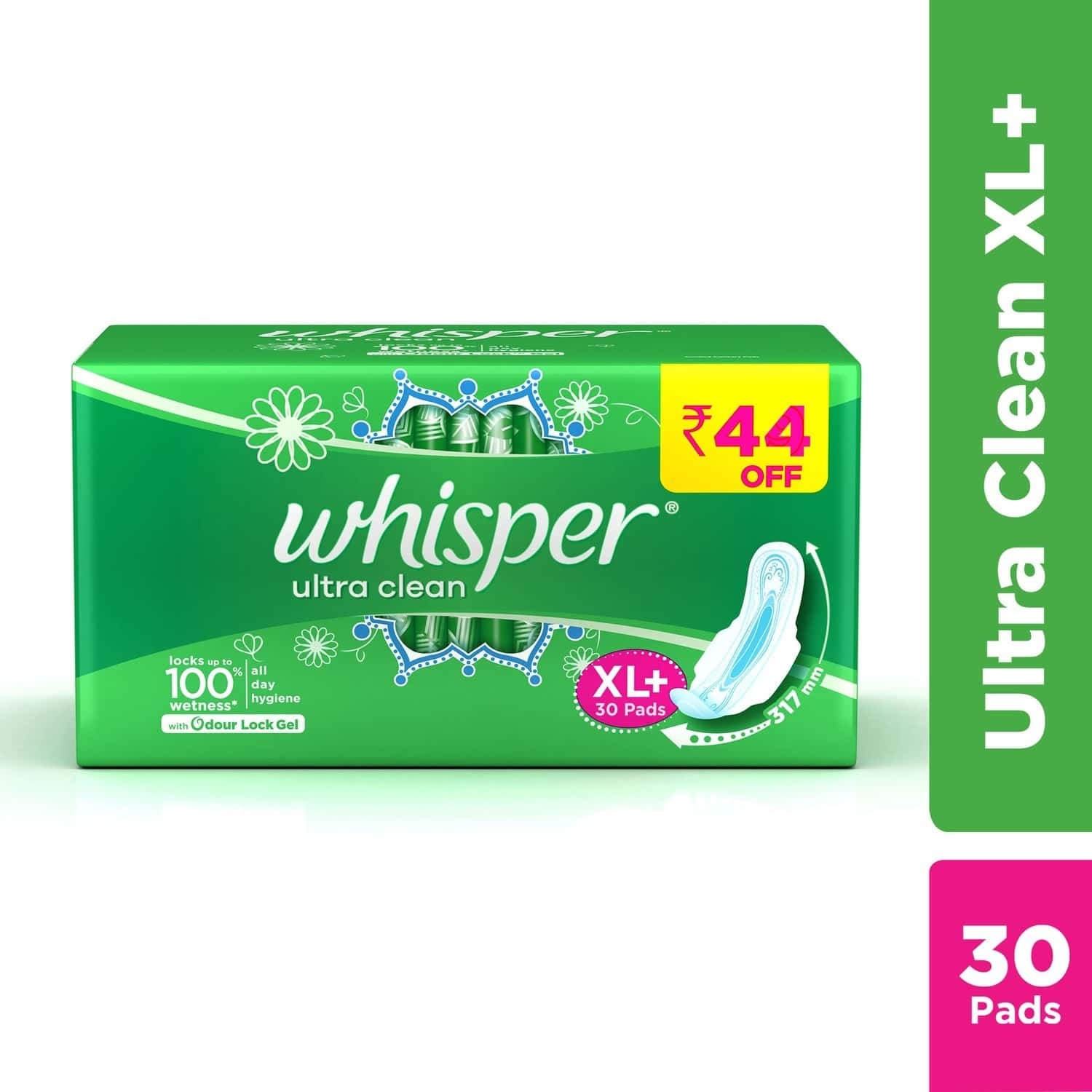 Whisper Ultra Clean Size Xl Plus Sanitary Pads Packet Of 30