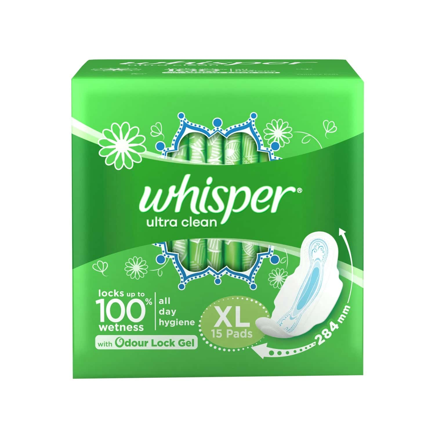 Whisper Ultra Clean  Sanitary Pads  Packet Of 15 (xl)
