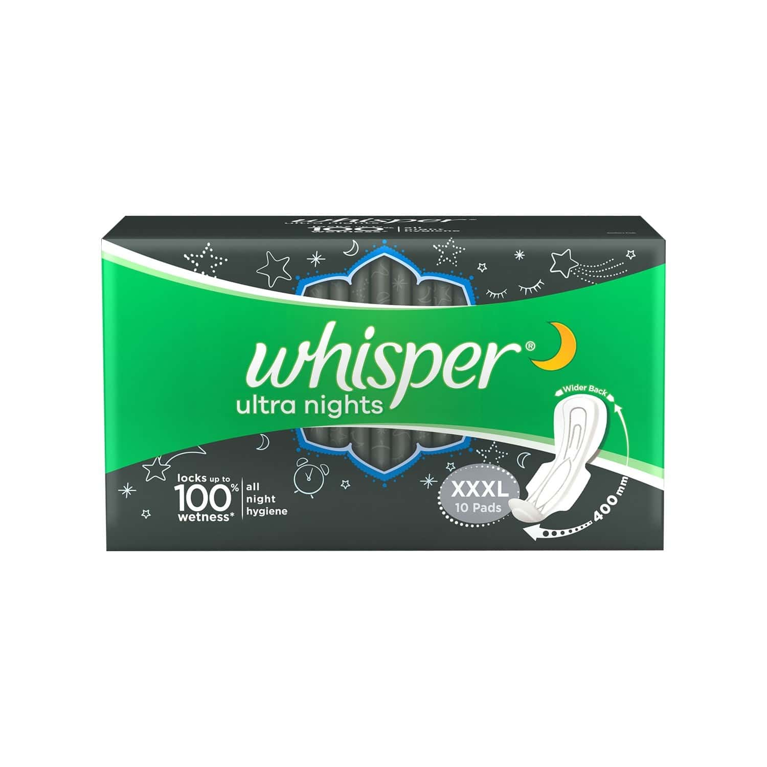 Whisper Ultra Nights Size Xxxl Sanitary Pads Packet Of 10