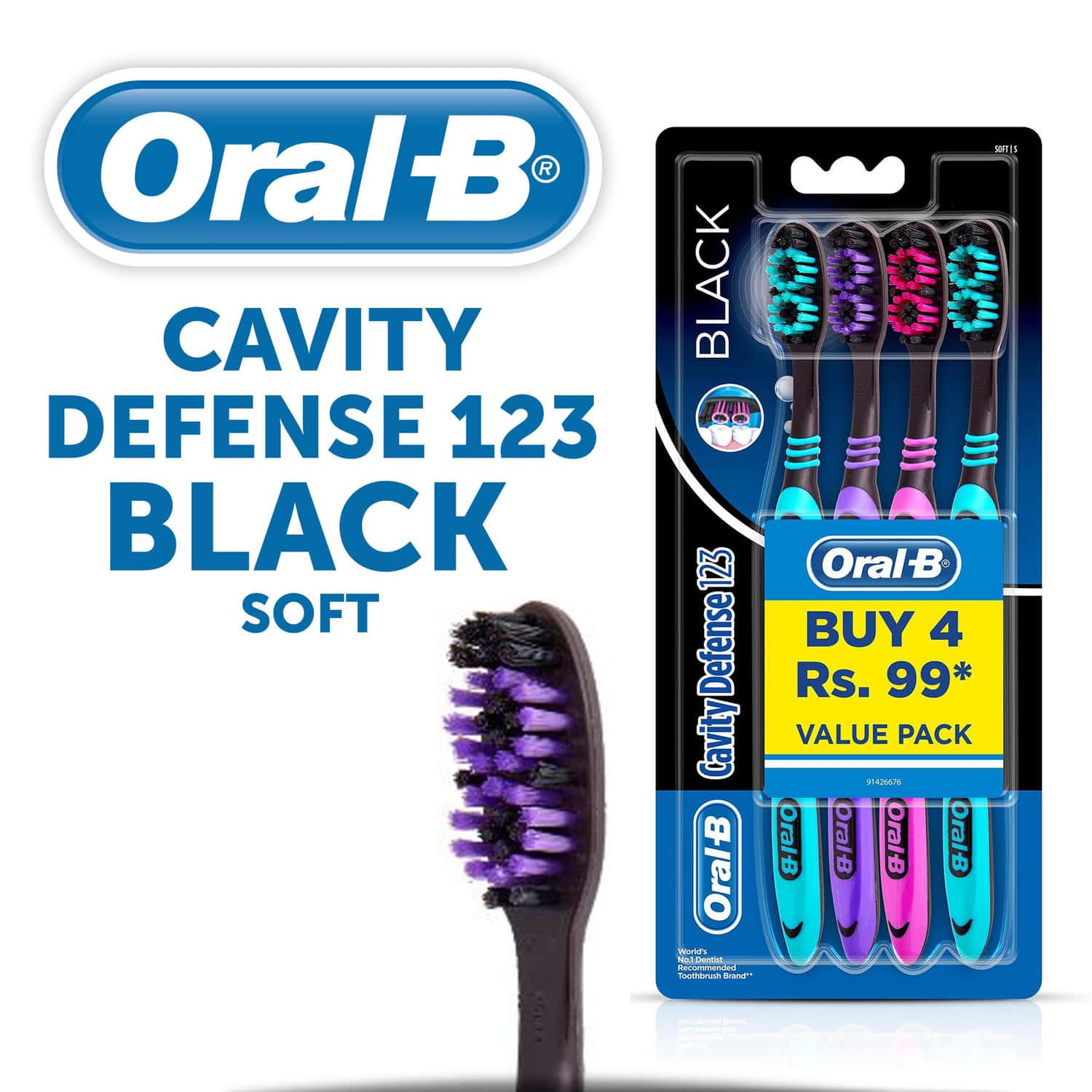 Oral-b Cavity Defense 123 Soft Bristles Toothbrush Packet Of 4 (black)