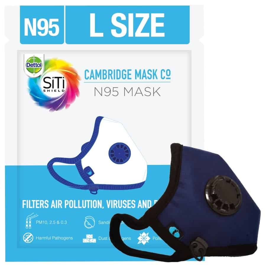 Dettol Cambridge Basic N95 Anti-pollution Mask, Navy Blue - Large