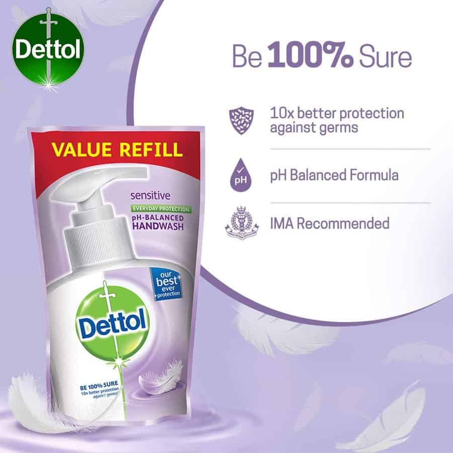 Dettol Germ Protection Handwash Refill, Sensitive- 175ml (pack Of 3)
